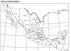 mapa de méxico colorear