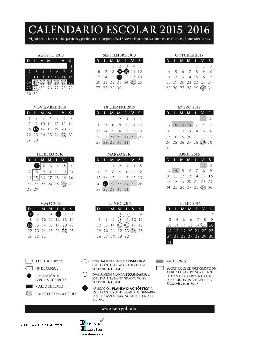 Calendario escolar 2015-2016 SEP | Diario Educación