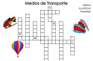 sopa de letras medios transportes