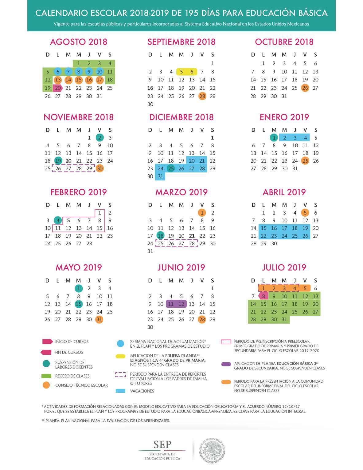 Calendario Escolar 2018 2019 Sep 185 195 Y 200 Días