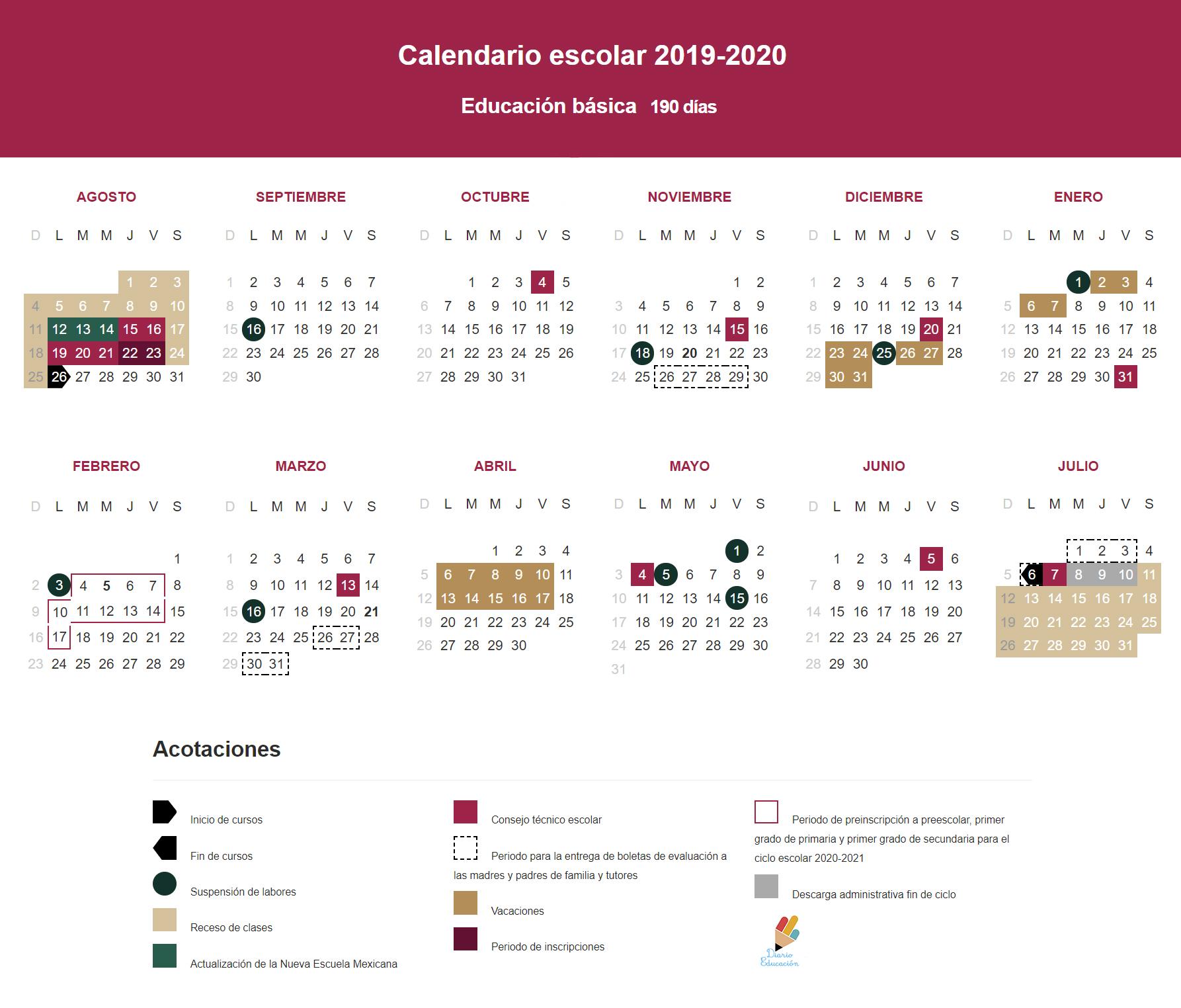 Calendario Junio 2020 Pdf.Calendario Escolar 2019 2020 Pdf Diario Educacion